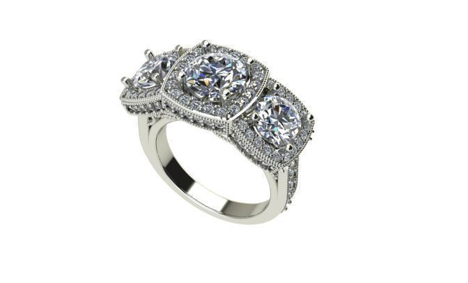 Halo 3 stone engagement ring | 3D Print Model