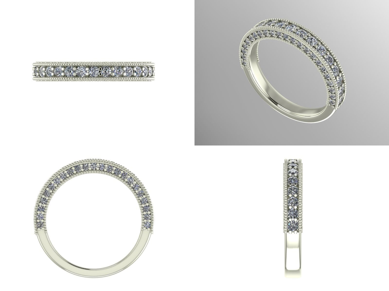 print jewelry models stl rings diamond cgtrader milgrain band model