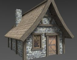 3D model low-poly Medieval House village