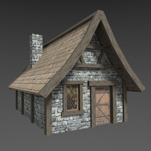 medieval house 3d model low-poly obj mtl 3ds fbx blend unitypackage prefab 1