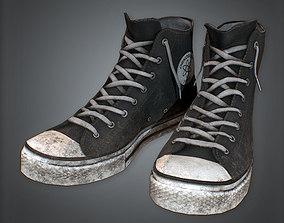 aaa568a83b Lowpoly  PBR. Black Street Shoes 80s 3D asset