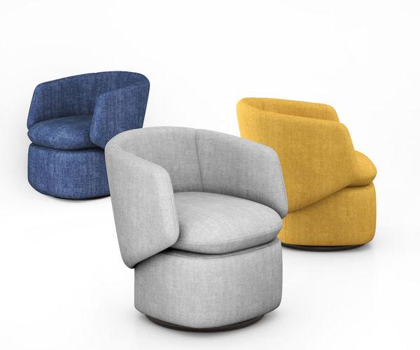 Crescent Swivel Chair By West Elm 3D Model