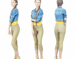 3D asset Jeans Jacket Girl in Heels Long Braid