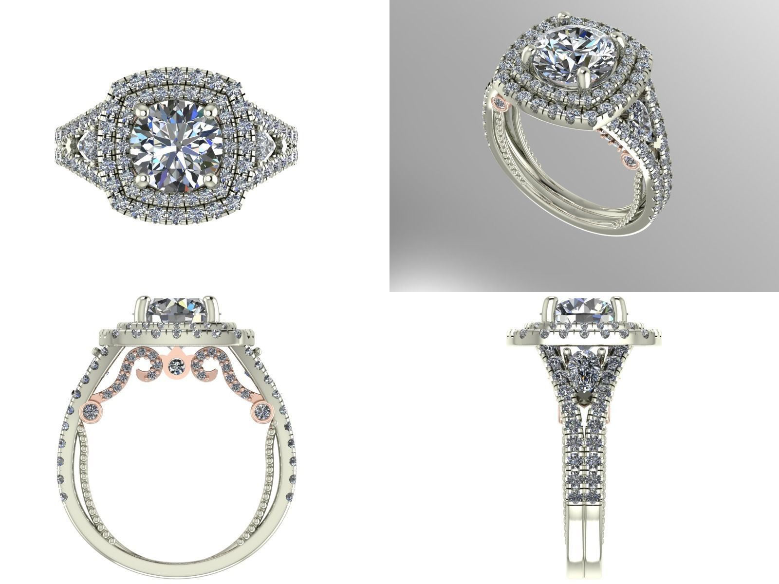 silhouette engagement stone platinum with product classic three pave rings ring double shank oval uneek