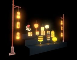 3D model cool chinese lantern collection