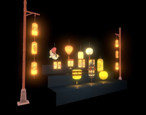 cool chinese lantern collection 3d model low-poly max obj mtl fbx ma mb 1
