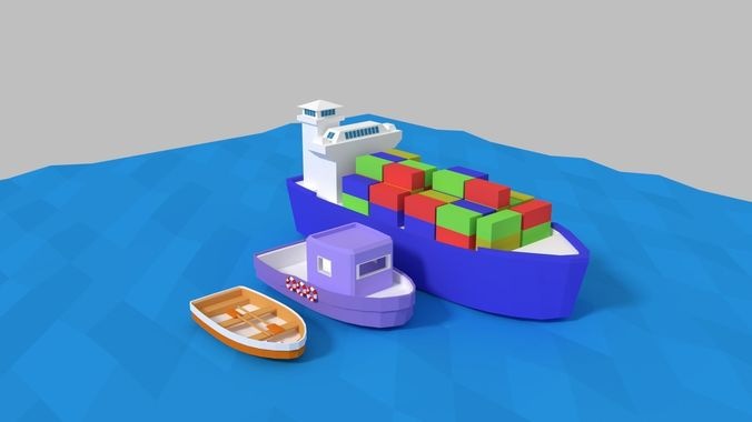 low poly ships pack