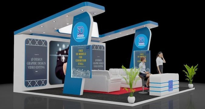 Exhibition Stall Designer Job : D model exhibition stall trade cgtrader