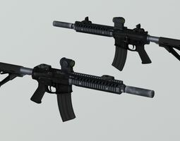 3D model PBR Assault Rifle AR15