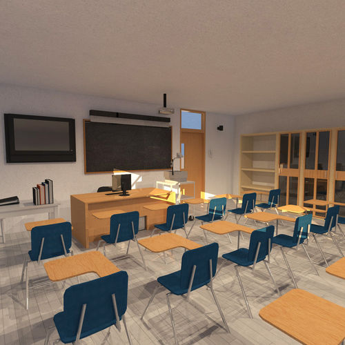 Classroom University 3d Model Cgtrader