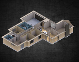 Modern residential 4 bedroom house contemporary 3D asset