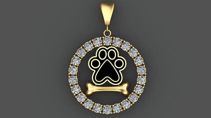 Dog paw and bone 3d pendant with diamonds 3d printable dog paw and bone 3d pendant with diamonds 3d printable 3d model stl 3dm 1 aloadofball Gallery