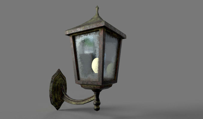 Old Rusted Outdoor Wall Lamp 3D asset VR / AR ready