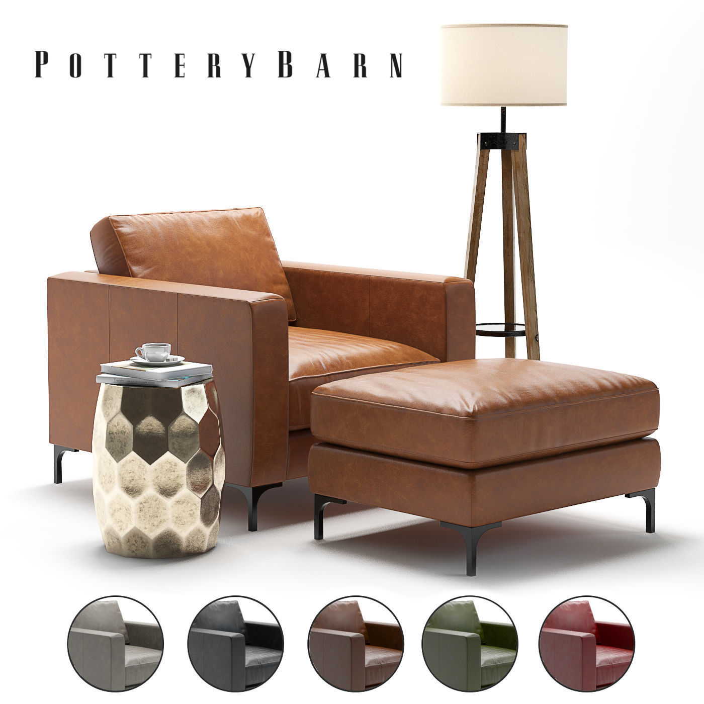 Pottery Barn Jake Leather Armchair 3d Model Cgtrader