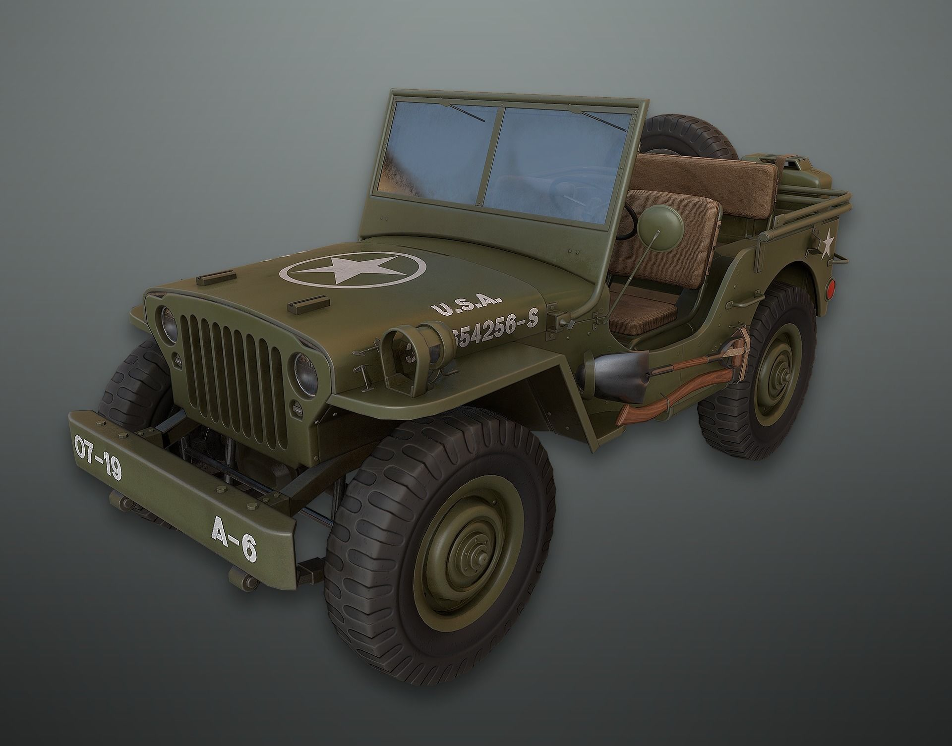 Lowpoly PBR Military Jeep
