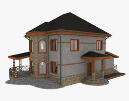 Stone House With Terrace 3D