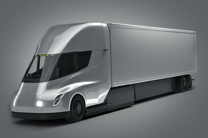 tesla semi truck 3d model max obj mtl 3ds fbx 1