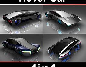 Hover car Set 4in1 3D asset