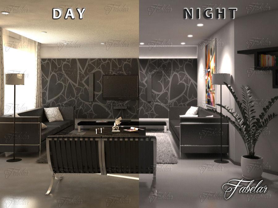 Living Room 11 Day Night 3d Model Max Obj Fbx C4d Dae 1