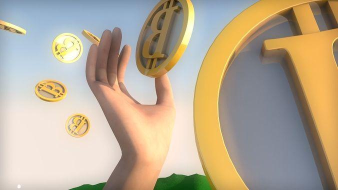 hand grabbing a bitcoin