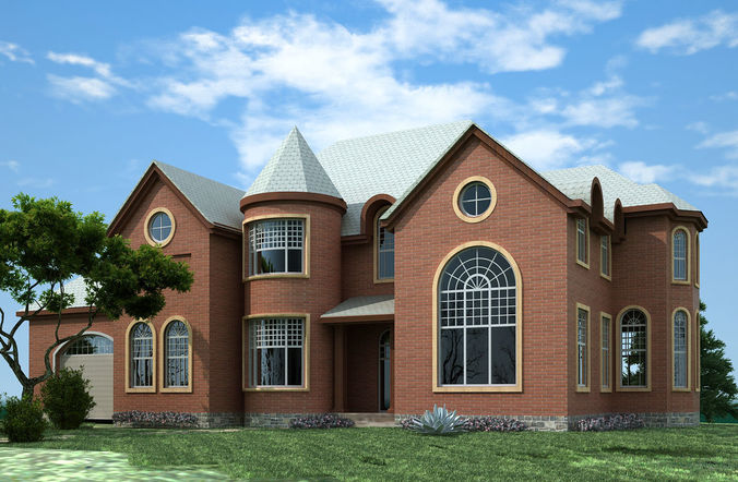 3dmaxmodel 2 story house plans 3dmax model cgtrader for Two story model homes