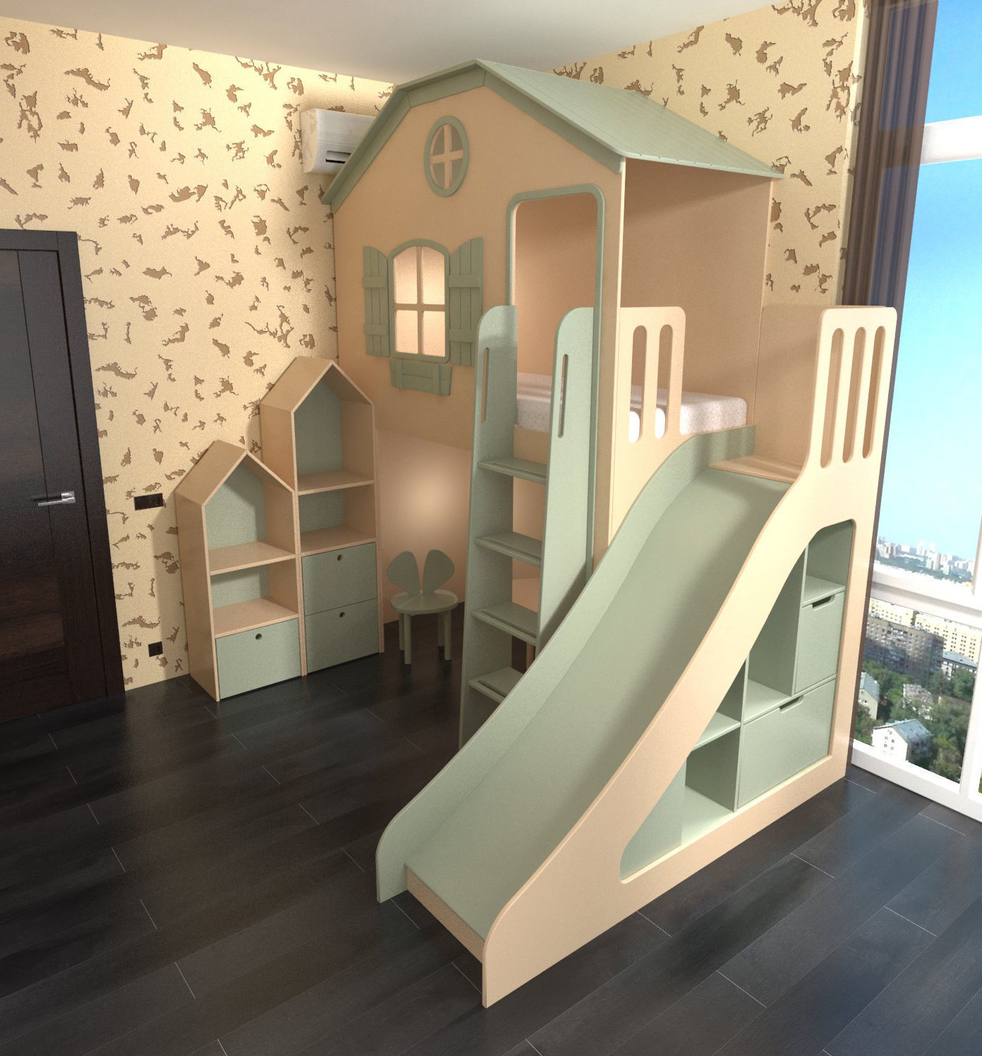 Playground with slide