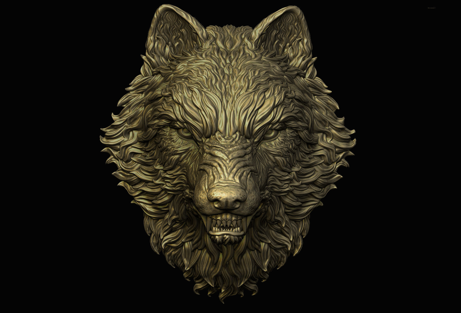 3d Print Model Angry Wolf Pendant Cgtrader