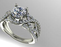 3D print model Twist diamond engagement ring