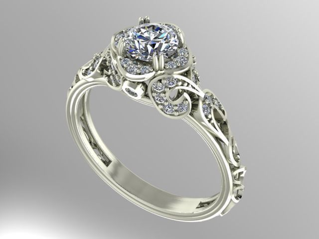3D print model printable Vintage style engagement ring 0178510d8a15