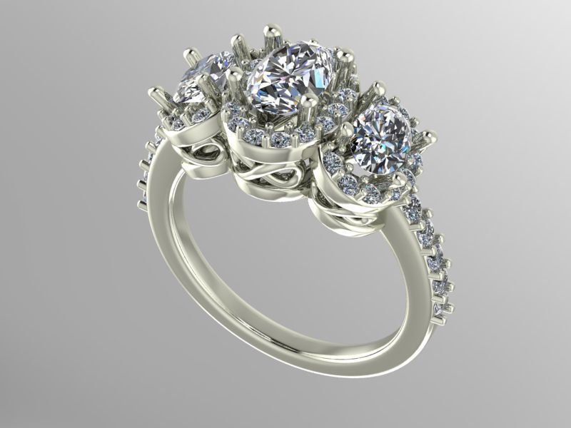 3 stone halo engagement ring | 3D Print Model