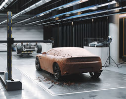 Car design scene 3D model