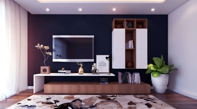 Modern Wooden TV Unit For A Beautiful Living Room 3D Model
