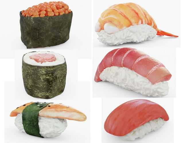 sushi collection lite 3d model obj mtl 3ds fbx stl blend 1