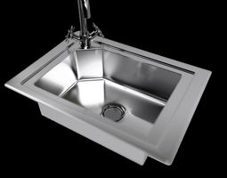 Kitchen Sink with Water Tap and Drain 3D model