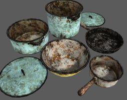 3D asset Utensil Dishes Dirt Kitchen Set