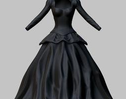 3D model VR / AR ready Victorian Gothic Dress
