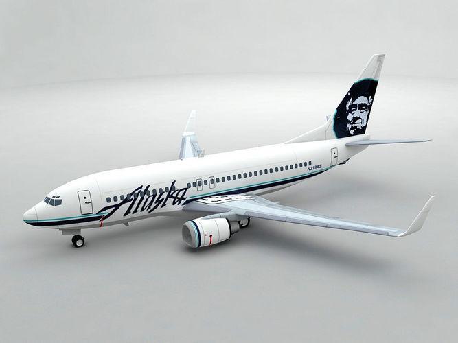 boeing 737-700 airliner - alaska airlines 3d model max obj mtl 3ds dxf stl wrl wrz 1