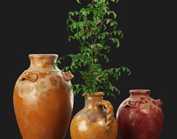 3D model Pottery Barn Sicily Terra Cotta Vases