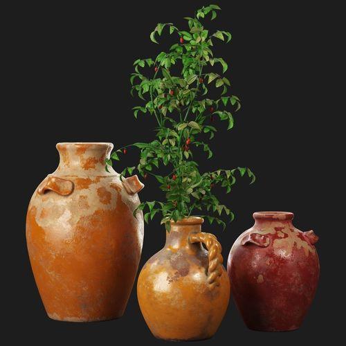 3d Model Pottery Barn Sicily Terra Cotta Vases Cgtrader