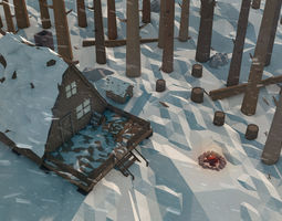 Winter Lumberjacks Cabin 3D asset