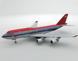 Boeing 747-400 Airliner - Northwest Airlines 3D asset