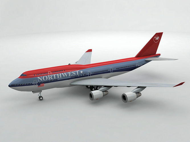 boeing 747-400 airliner - northwest airlines 3d model low-poly max obj mtl 3ds dxf stl wrl wrz 1