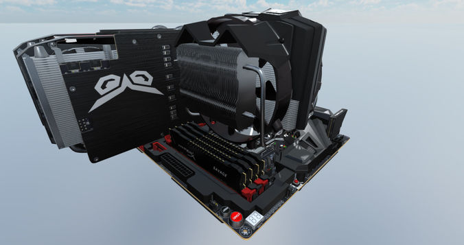 computer assembly 2017 game 3d model max fbx 1