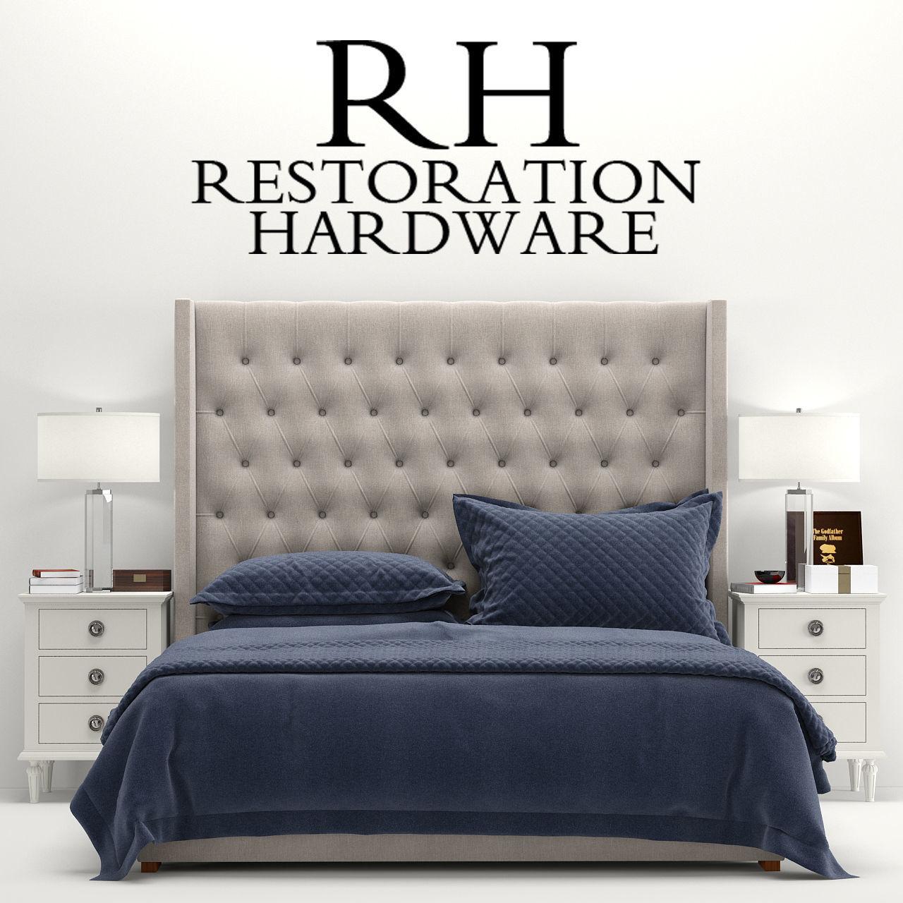 3d Rh Adler Tufted Fabric Bed Cgtrader