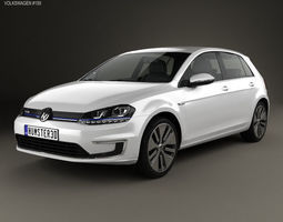 3D model electric Volkswagen e-Golf 2015