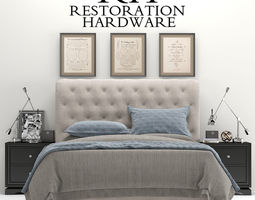 3D model RH Chesterfield Tufted Fabric Bed