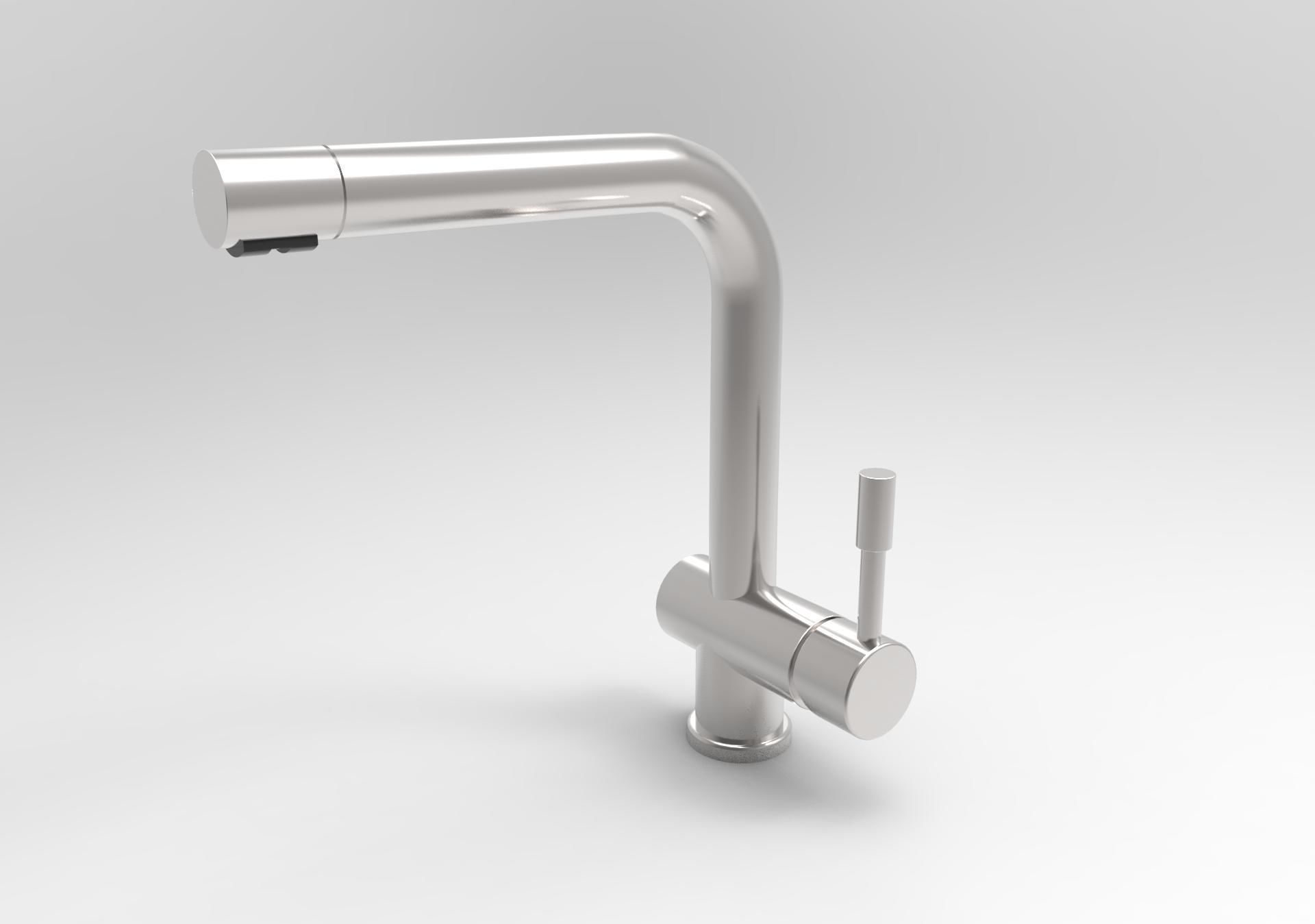 3D model Straight Single lever Kitchen mixer tap