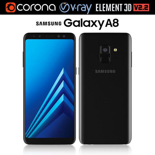 samsung galaxy a8 black 3d model max obj mtl 3ds mat 1