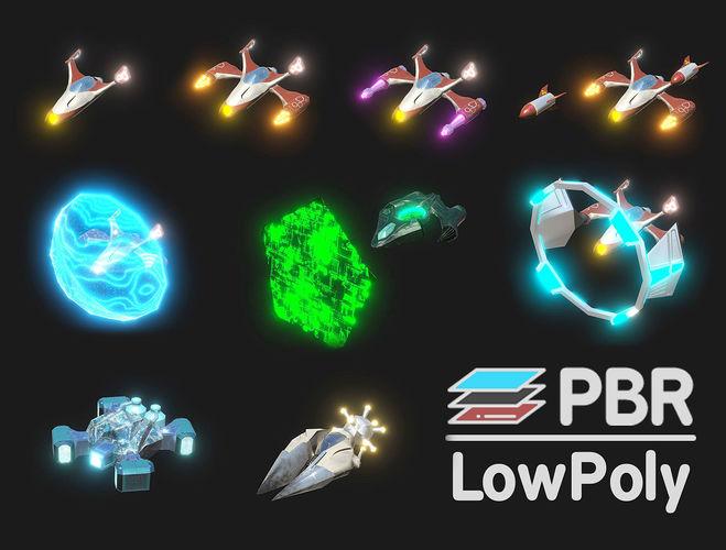 space warplanes 3d model low-poly unitypackage prefab 1