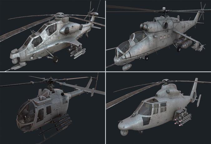 holicopter pack 3d model low-poly max obj fbx blend 1
